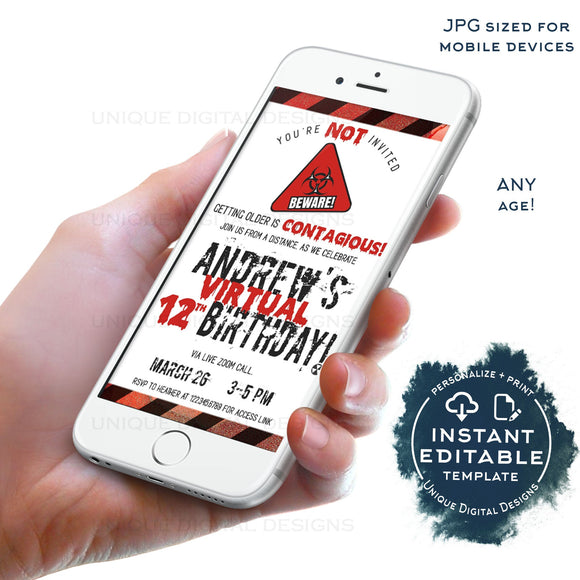Quarantine Birthday Virtual Party Invitation, Editable Zoom Party Invite, Contagious Infected Zombie Party Electronic Digital INSTANT ACCESS