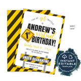 Editable Birthday Virtual Party Invitation, Zoom Party Under Quarantine Banner, First Electronic 1st Party Digital Smartphone INSTANT ACCESS