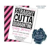Straight Outta Quarantine Baby Shower Party Invitation, Editable Baby Boy End of Social Distance Invite, Girls Out of Quarantine INSTANT