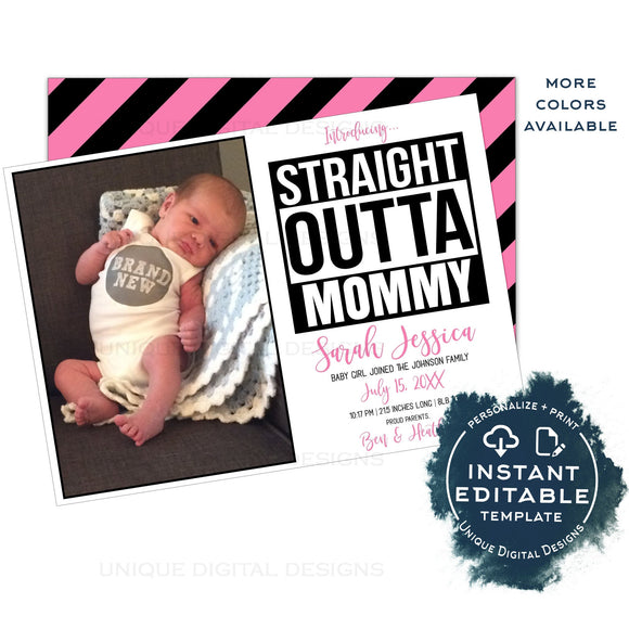 Straight Outta Mommy Birth Announcement Card, Editable Baby Girl Birth Announce with Photo, New Baby Arrival Straight Out of Mom INSTANT