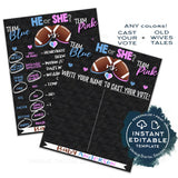 Editable Football Gender Reveal Party, Old Wives Tales Sign, Cast Your Vote Touchdown Football Chalkboard Personalized Digital Printable diy