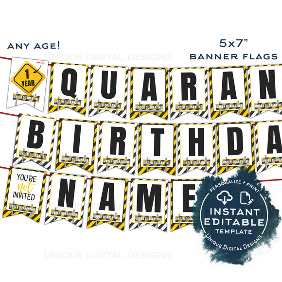 Quarantine Birthday Banner, Editable Quarantine First Year Photo Bunting Flags, 1st Birthday Decor Printable Digital Template INSTANT ACCESS