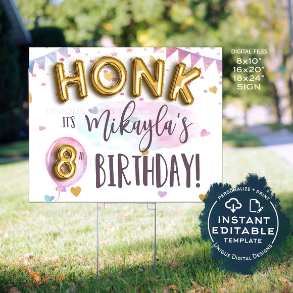 Honk Birthday Yard Sign, Editable Quarantine Parade Drive By Poster, Quarantine Birthday Banner Printable Digital Template INSTANT ACCESS