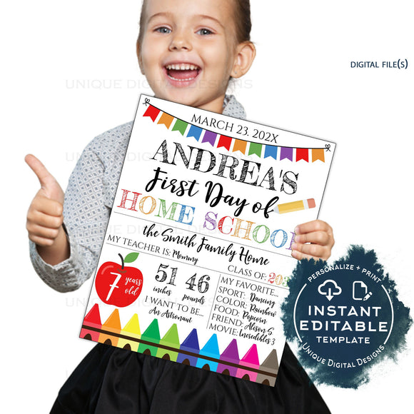 Editable First Day of Home School Sign, 1st Day of Homeschool Poster, Personalized Back to School Photo Prop Chalkboard INSTANT ACCESS UTCR