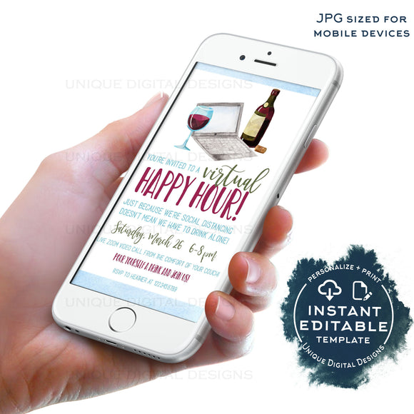 Social Distancing Virtual Happy Hour Invitation, Editable Electronic Party Invite, Video call Party Digital Smartphone Invite INSTANT ACCESS