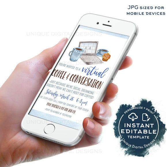 Social Distancing Virtual Coffee Date Invitation, Editable Electronic Business Networking Video call, diy Digital Smartphone Invite, INSTANT