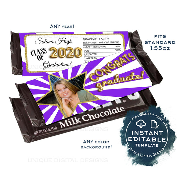 Chocolate Graduation Party Decorations, Editable Candy Bar Wrapper Template, Class of 2020, Chocolate Bar, Printable INSTANT ACCESS 1.55oz