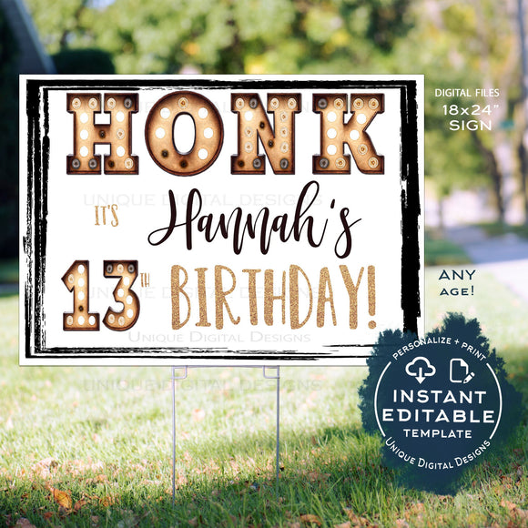 Honk Birthday Yard Sign, Editable Quarantine Parade Drive By Poster, Marquee Birthday Banner Printable Digital Template INSTANT ACCESS
