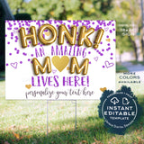 Virtual Mother's Day Yard Sign, Editable Honk for an Amazing Mom Drive By Poster, Thank You Gift from Kids Banner Printable Template INSTANT