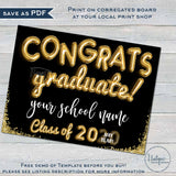 Graduation Yard Sign, Editable Congrats Graduate Drive by Poster Congratulations Class of 2020 Banner Printable Digital Template DIY INSTANT