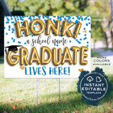 Honk Graduation Yard Sign, Editable Quarantine Parade Drive By Poster 8th Grade High School Graduate Banner Printable Digital INSTANT ACCESS