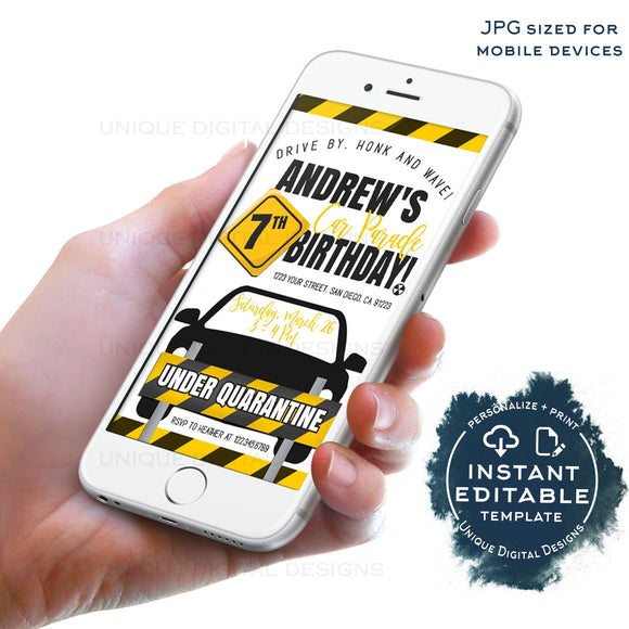 Quarantine Birthday Car Parade, Editable Kids Drive By Birthday Party Invitation, 1st Quarantine Banner Digital, Honk First INSTANT ACCESS