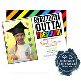Straight Outta Preschool Graduation Announcement Card, Editable Girls Advance to Kinder Announce with Photo, Straight Out of School INSTANT
