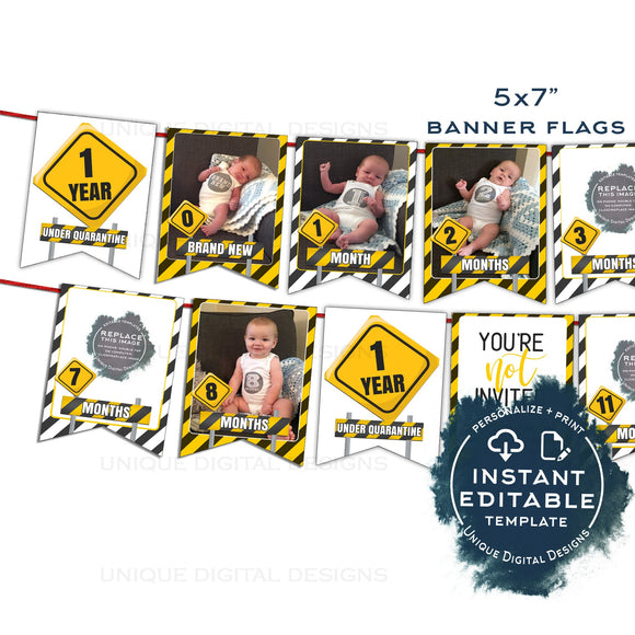 Quarantine First Birthday Banner, Editable Quarantine One Year Photo Bunting Flags, 1st Birthday Printable Digital Template INSTANT ACCESS