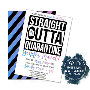 Straight Outta Quarantine Gender Reveal Party Invitation, Editable He or She Baby Shower Social Distance Invite, Out of Quarantine INSTANT