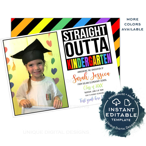 Straight Outta Kindergarten Graduation Announcement Card, Editable Girls Advance to 1st Announce with Photo, Straight Out of School INSTANT