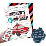 Quarantine Birthday Parade, Editable Kids Drive By Birthday Invite, Quarantine 1st Party Invitation Banner Digital Honk First INSTANT ACCESS
