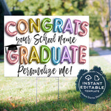 Personalized Congrats Graduation Yard Sign, Editable Graduation Parade Drive By Poster, Preschool Graduate Banner Printable Digital INSTANT