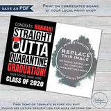 ANY Color! Straight Outta Quarantine Graduation Yard Sign, Editable Class of 2020 with Photo High School College Graduate Digital INSTANT