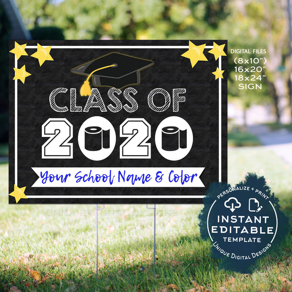 Class of 2020 Graduation Yard Sign Personalized Printable Toilet Paper