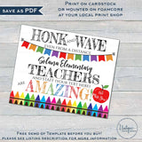 Teacher Appreciation Yard Sign, Editable Thank You Parade Drive By Poster Honk Virtual Teacher Week School pta Printable Template INSTANT