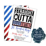 4th of July Straight Outta Quarantine Invitation, Editable End of Social Distance Invite Out of Quarantine Party Summer Celebration INSTANT