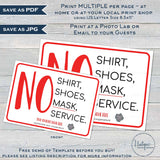 No Service Yard Sign, Editable No Shirt No Shoes No Mask No Service Poster, Social Distancing Small Business Printable Template INSTANT