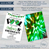 Editable Tie Dye Party Invitation Download, Summer Pool Party Invite, Camo 90s Boys Birthday Party, Any Age, Printable Template INSTANT