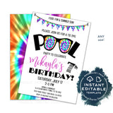 Editable Tie Dye Party Invitation Download, Summer Pool Party Invite, Rainbow 90s Girls Birthday Party, Any Age, Printable Template INSTANT