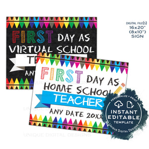 Editable Parents First Day as Home School Teacher Sign, Virtual School Poster, Good Luck Parents, First Day Gift Digital Printable INSTANT