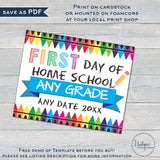 Editable First Day of Home School Sign, Virtual School Poster, Quarantined Distanced School 2020, First Day Prop Digital Printable INSTANT