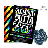 Editable New Years Eve Party Invitation, Straight Outta Quarantine Invite Goodbye 2020 Hello 2021 Year of the Mask Printable Digital INSTANT