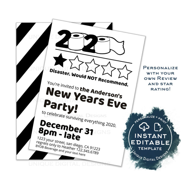 2020 Would Not Recommend Invitation, Editable New Years Eve Party Invite, Bad Star Review Goodbye 2020 Adult Party Printable Digital INSTANT