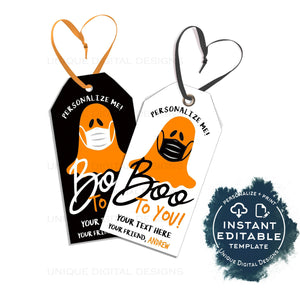 Editable Halloween Tags, You've been Booed, Ghost Mask Boo, Personalized Halloween Tag Trick or Treat Tags Thank You Printable Gift INSTANT