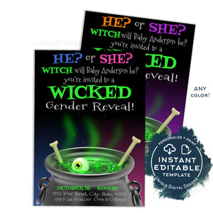 Halloween Gender Reveal Invitation, Wicked Editable Halloween Invite Witch will He or She be Costume Party Printable Template INSTANT ACCESS