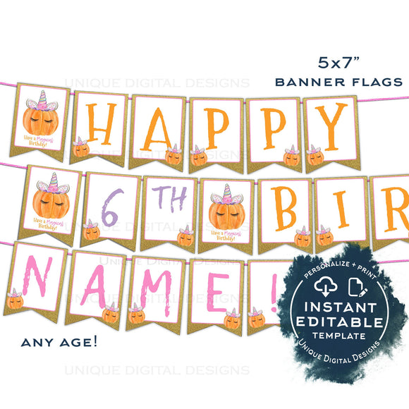 Unicorn Pumpkin Birthday Banner, Editable Bunting Flags, Girls Halloween Birthday Party, Magical Digital Template Printable, Any Age INSTANT