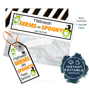 Editable Halloween Favor Tags, Germs are Spooky Personalized Quarantine Halloween Tags Trick or Treat Thank You Printable Gift Tags INSTANT