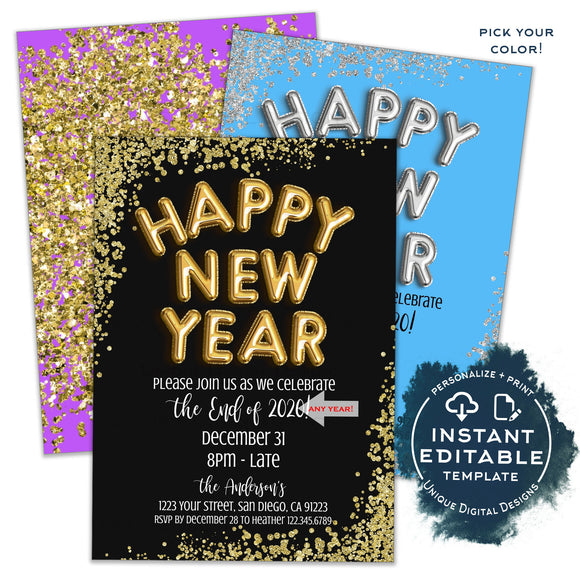 Happy New Year Invitation, Editable New Years Eve Party, Goodbye 2020 Hello 2021 Birthday Party, Glitter Printable Template Digital INSTANT