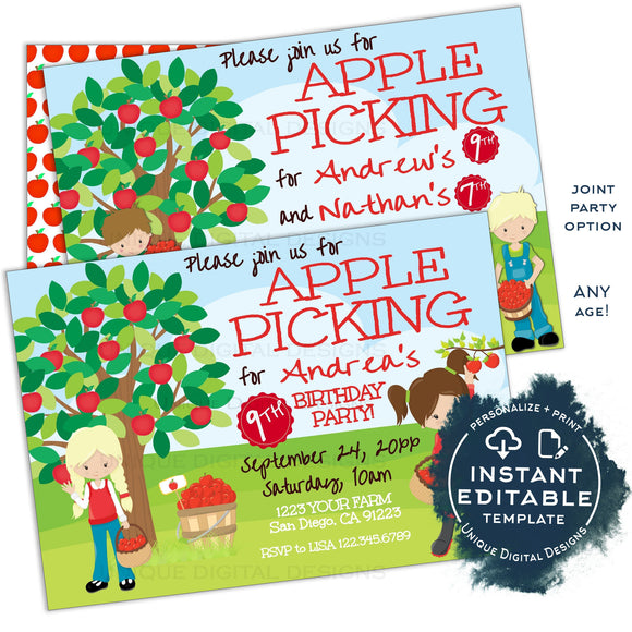 Editable Apple Picking Birthday Invitation, Fall Apple Farm Birthday Invite, Boys or Girls Siblings Apple Orchard Printable Template INSTANT