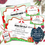 Editable Healthy Elf Quarantine Letter Printable, Personalized Elf Welcome Certificate, Arrival Christmas Elf Props, Elf Mask Kit INSTANT
