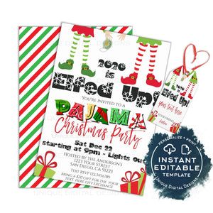 Editable Christmas Pajama Party Invitations, Adult Christmas Invite, Lets get Elfed Up, 2020 Let's get Lit PJs Holiday Printable INSTANT