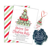 Oh Quaran-Tree getting Lit, Christmas Party Invitations, Adult Christmas Invite, Editable Tree isn't only thing, Holiday Printable INSTANT