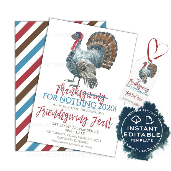 Thanks for Nothing 2020, Thanksgiving Friendsgiving Party Invitations, Editable Adult Party Invite, Friends Feast Holiday Printable INSTANT