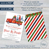 Editable Holiday Drive by Invitation, Neighborhood Christmas Invite, Year we All Stayed Gnome Block Party, Toy Drive Fundraiser Gift INSTANT