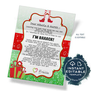 2020 Editable Elf Arrival Letter Template, I'm Back Christmas Letter Printable, Elf Welcome Back, DIY Christmas Tradition for Kids, INSTANT