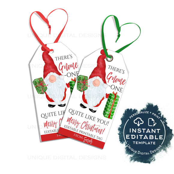 Editable Christmas Gift Tags, There's Gnome-one like you, Printable Holiday Gnome Elf Holiday Appreciation Personalized Xmas Tag DIY INSTANT