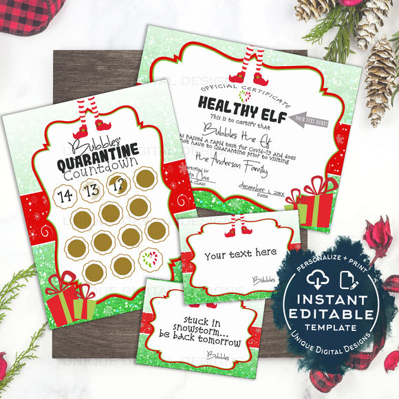 Editable Elf Quarantine Arrival KIT 2020, Elf Welcome Letter Mask 14 day Christmas Countdown Calendar Christmas Elf Letter Printable INSTANT