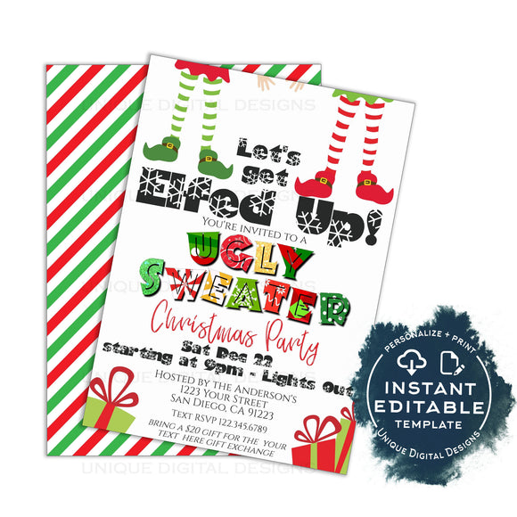 Editable Ugly Christmas Sweater Party Invitations, Adult Christmas Invite, Lets get Elfed Up, Let's get Lit Pajama Holiday Printable INSTANT