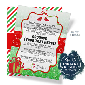 2020 Editable Elf Good Bye Letter Template, Farewell Christmas Letter Printable Elf Leaving Forever DIY Christmas Tradition for Kids INSTANT
