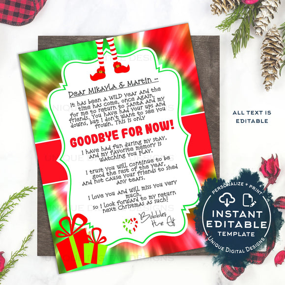2020 Editable Elf Goodbye Letter Template, I'm Back Christmas Letter Printable, Elf Welcome Back, DIY Christmas Tradition for Kids, INSTANT